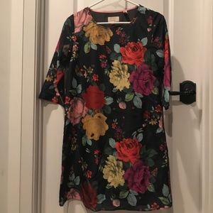 Ted baker floral rose dress with 3/4 sleeves